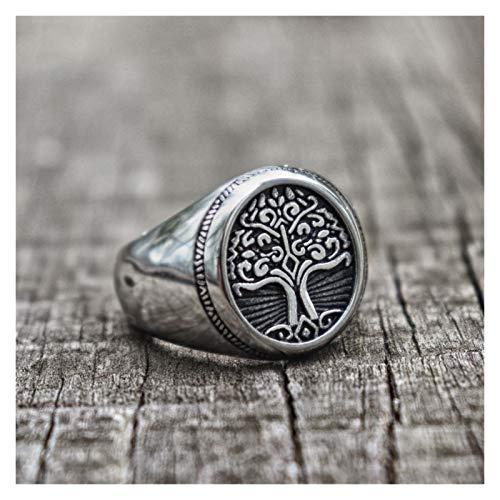 MJS Árbol de Acero Inoxidable de la Vida Anillo de Sello clásico Hombres Vikingo Anillos de Amuleto joyería nórdica (Talla : 14)