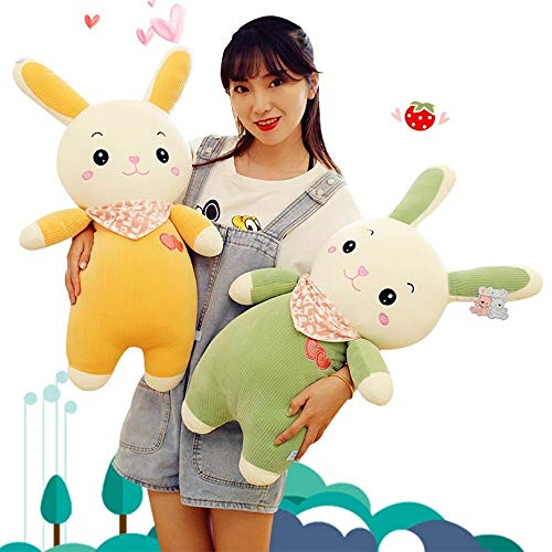 Chubby Cute Rabbit Pluche Children's Toy Doll Beneden Cotton Striped Velvet sjaal Rabbit Rag Doll Pillow Vriendin Valentijnsdag cadeau (Size : 55CM)
