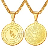 U7 Men Women 18K Gold Plated Bible Verse Prayer Necklace with 22' Chain Christian Jewelry Serenity Praying Hands Coin Medal Pendant