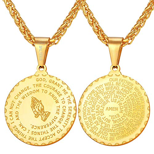U7 Bible Verser Prayer Necklace Christian Jewelry 18K Gold Plated Praying Hands Coin Medal Pendant for Men Women, Chain 22 Inch