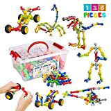 Huaker Kids Building STEM Toys ,125 Pcs Educational Construction Engineering Building Blocks Kit for Ages 3 4 5 6 7 8 9 10 Year Old Boys and Girls ,Best Gift for Kids Creative Games & Fun Activity