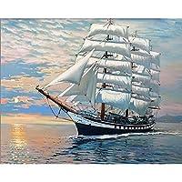 番号による絵画キャンバスヨットキットの風景ペイント手描きのDIYアートギフト画像番号による着色家の装飾
