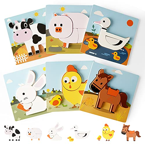 KIPPTO Wooden Toddler Puzzles- Pack of 6 Farm Animals- Cow  Horse  Chicken  Pig  Rabbit and Duck. Montessori Puzzle for 3-5 Years Old Preschool Kids STEM Toy  Kids Safe Non-Toxic Material