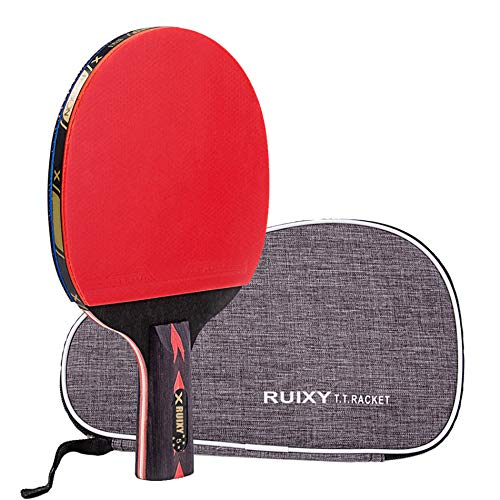 Ruixy Pro Carbon Performance-Level Table Tennis Racket Ping Pong Paddle with Carbon Technology for Tournament Play Rubber Spin Bat Racquet Bundle Portable Cover Case (Penhold Type)