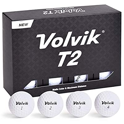Volvik T2 Ionomer Polymer Low Side Spin Matte Finished Long Distance Balls 2-Pieces, 1 Dozen