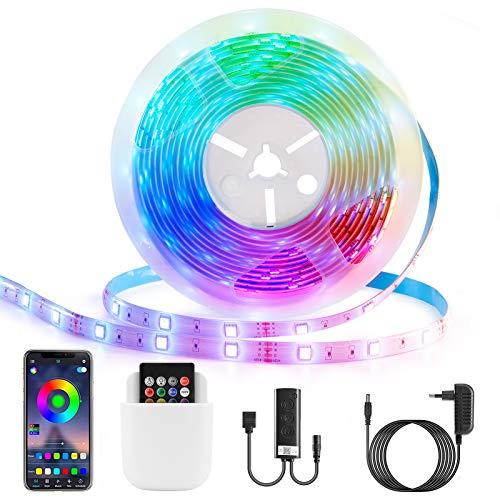 Mafiti Tiras LED, Sincronización de música Bluetooth, control de aplicaciones, 5M 5050 con Control Remoto de 44 Botones y Caja de Control, para la Habitación, Dormitorio, Techo.