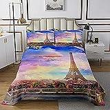 HSBZLH Eiffelturm Tagesdecke,Romantische Londoner Stadtlandschaft Rosa Clo& mit Taube,3-teilige dekorative Gesteppte Tagesdecke mit 2 Kissenbezügen