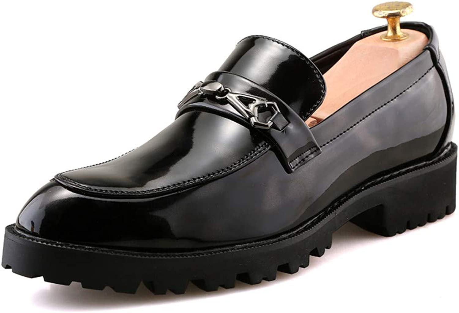 CHENXD shoes, Men's Fashion Round Toe Thick Toe Business Oxford Casual Patent Leather Formal shoes