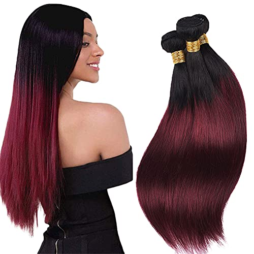 AuokMar Ombre Human Hair Bundle Red Hair Extensions 1b99j 3 Bundles Tow Tone Black To Red Natural Brazilian Remy Hair Straight Brazilian Real Hair Weft Real Human Hair Bundles(14 16 18 inches)