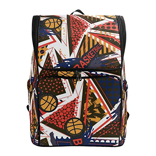 Ahomy Schulrucksack, abstrakte Basketball geometrische Figuren, groß, wasserdicht, Tagesrucksack, Computer Notebook Rucksack für Arbeit College