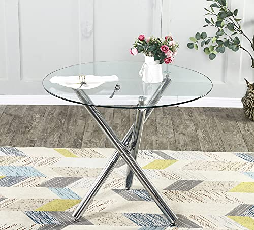 Round Glass Dining Table with Chrome Legs for 2 or 4 Seats Home Office Kitchen Dining Room Table...