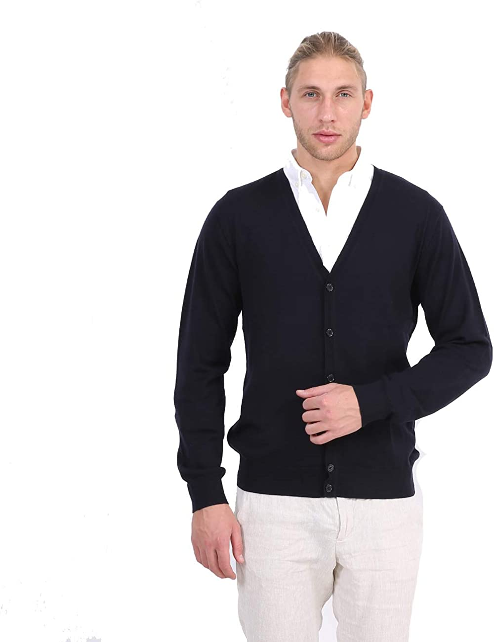 R.PRINCE Men's Merino Wool Cardigan Sweater Casual Slim Fit V-Neck Knitted Sweaters Button up