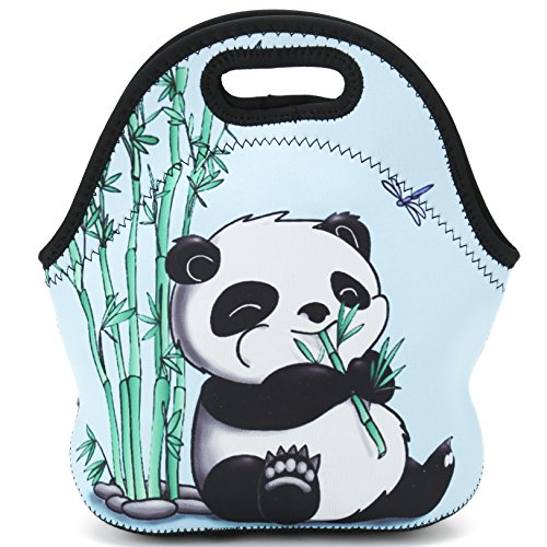 Lunch Bag Neoprene Insulated Lunch tote Food Holder Reusable Adults Women Kids Boys Girls and Men Lunch Box For School Work Office Outdoor Travel Picnic (Bamboo & Panda)