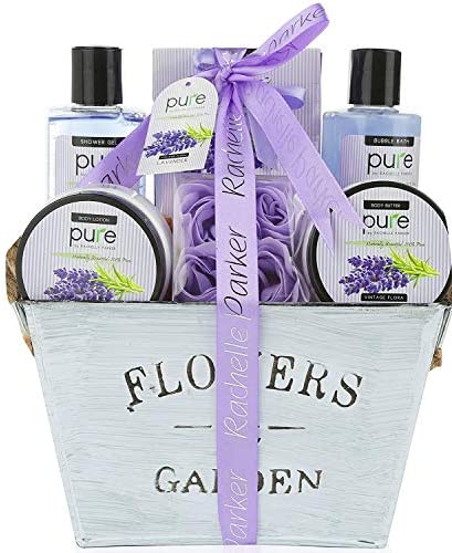Lavender Essential Oil Spa Basket For Women Premium Deluxe Bath Body Basket for Women for Birthday product image