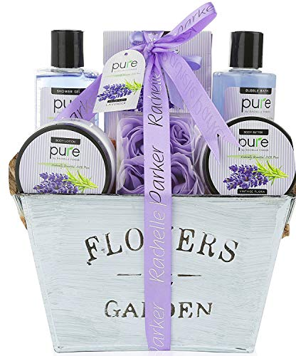 Lavender Essential Oil Spa Gift Basket For Women & Men. Premium Deluxe Bath and Body Basket for Women for Birthday, Thank You, Anniversary Present and to Treat Yourself!