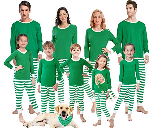 Family Matching Pajamas for Women Men Christmas Boys and Girls Green Striped Jammies Baby Clothes Kids 3t