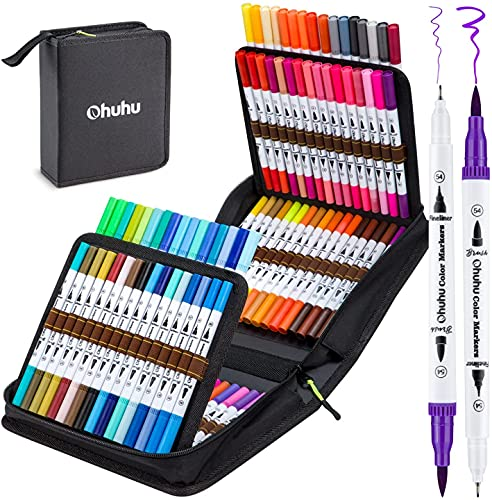 Colouring Pens 100 Colours, Ohuhu Dual Tip Brush Pens Felt Tip Pens Fineliner Art Markers, Water Based Highlighter Pen for Calligraphy Drawing Sketching Coloring Book