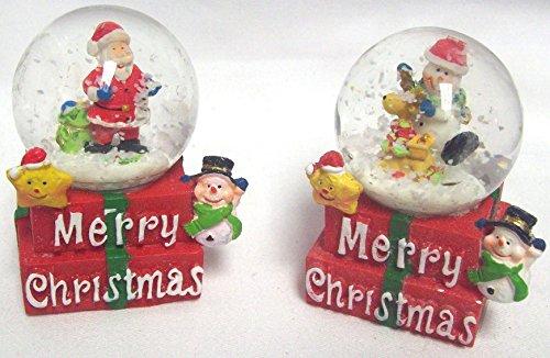 Lot de 2 de vœux Merry Christmas Snow globes à eau Globe Père Noël et bonhomme de neige