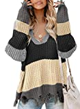Dearlove Womens Casual Striped Distressed Sweater Loose V Neck Ripped Cable Knit Pullover Color Block Jumper Tops Gray Small