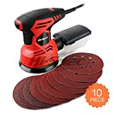 Hi-Spec 2A 240W Random Orbital Disc Palm Sander & 10pc Sanding Papers for Removing Paint, Varnish, Stains, Preparing Furniture, Sanding Down & Finishing Wood