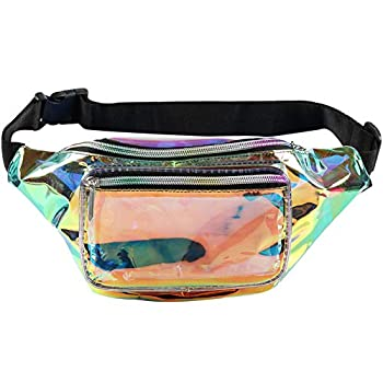 Holographic Fanny Pack– Fashion Rave Waist Bag with Adjustable Belt for Women and Men  Iridescent
