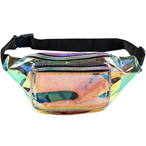 Holographic Fanny Pack– Fashion Rave Waist Bag with Adjustable Belt for Women and Men (Iridescent)