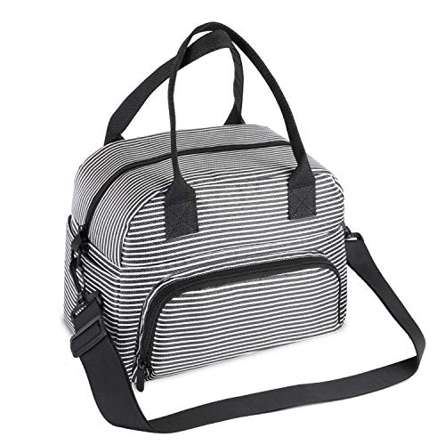 Teamkio Leak-proof Large Lunch Bag Insulated Cooler Thermal Lunch Bag for Women Men Water-resistant Lunch Box with Detachable Strap Lunch Bag with Water Bottle Holder