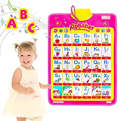 WOSTOO Electronic Interactive Alphabet Poster,Music Wall Chart & Talking ABC Poster Educational Toys for 1 2 3 4 Years Old Boys Girls Preschool Baby Gift