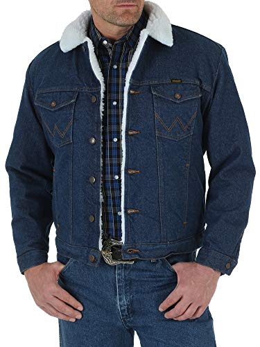 Wrangler mens Western Style Lined denim jackets, Denim/Sherpa, Large US
