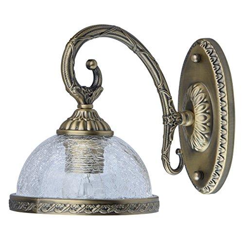 MW-Light 481021901 Wandlampe Klassisch Messing Antike Bronze Metall Matt Glasschirm Eis 1 Flammig E27 60W