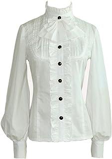 a2e134b2b6 Smiling Angel Women Stand-Up Collar Ruffle Gothic Retro Victorian Shirts  Lolita Blouse