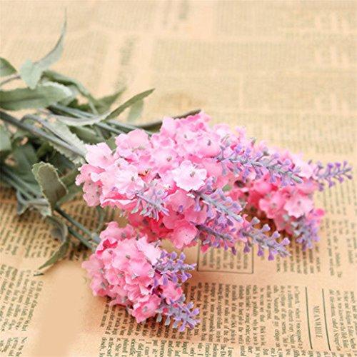 Display08 10 têtes 1 Bouquet simili soie Lavande Faux de décoration de maison de jardin