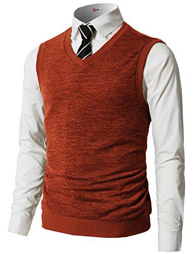 H2H Mens Slim Fit Casual V-Neck Knit Vest Orange US L/Asia XL (CMOV042)