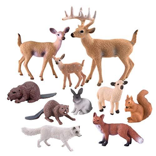TUPARKA 10 Morceaux d'animaux de la forêt, Figurine en Bois Miniature Figurine écureuil, Lapin, Renard, Mouton, Castor, fête d'anniversaire du cerf des Bois, baptême de bébé, gâteau de fête de Noël