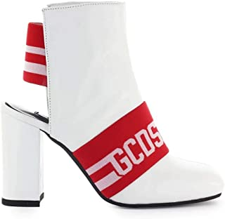 GCDS Women's CC94W01022201 White Leather Ankle Boots