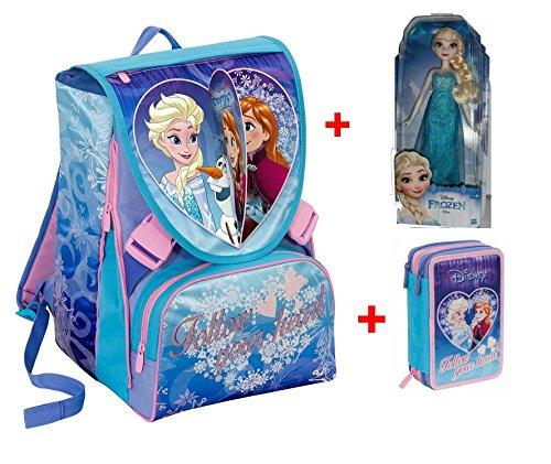 Zaino Frozen Seven new 2017 - Follow your Heart scuola sdoppiabile Big - Pattina Sfogliabile - 28 Lt - Schoolpack si illumina al buio + ASTUCCIO 3 Scomparti + Bambola Elsa