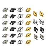 REKYO 40 Packs Jewelry Magnetic Clasp Converter for Necklace Bracelet Jewelry Making, Magnetic Findings (Blend...
