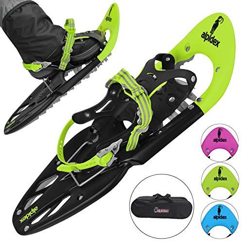 ALPIDEX Schneeschuhe 25 INCH Schuhgröße 38-45 bis 130 kg Steighilfe Tragetasche Optional Stöcke, Farbe:Lime ohne Stöcke