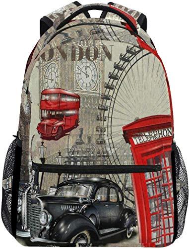 Vintage London Big Ben Mochilas College School Bag Hombro Casual Travel Daypack Senderismo Camping