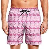 Color Pink Flamingo in Spanish Mens Swim Trunks Quick Dry Classic...