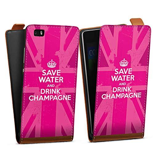 DeinDesign Tasche kompatibel mit Huawei P8 lite (2015-2016) Flip Case Hülle Champagner Krone Crown