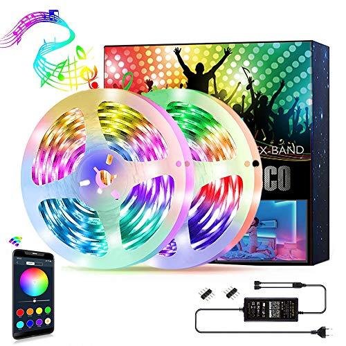 Smart Striscia LED Musica Nicetai Strisce LED Intelligente, Bluetooth App Controllato,Nastri Multicolore,16 milioni colori-sincronizzazione con musica-micrófono (5050 30LEDs/M IP65, 10M)