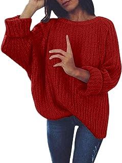 HoSayLike SuéTer De Mujer Casual Moda Suelta Color SóLido Cuello Redondo Tejido De Punto JerséIs Pullover Todos Los Dias F...