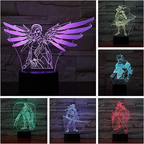 Game Overwatch 3D Lamp Tafel Slaapkamer Action Figuur Decoratieve Lamp 7 Kleur Veranderende ping LED Nachtlampje Home Decor A-1760