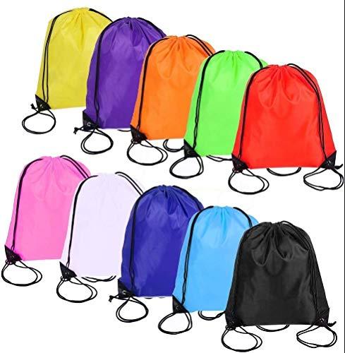 kuou 10Pcs Drawstring Bag, Drawstring Backpack for Picnic Gym Sport Beach Travel Storage 10 Colors