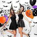 75 pcs Halloween Luftballons Girlande, Orange Schwarz Luftballons Kürbis Ballon Dekorationen, Schwarzer Fledermaus Konfettiballon Helium Balloon für Halloween party Dekoriert Tischdeko Geburtstagdeko - 9