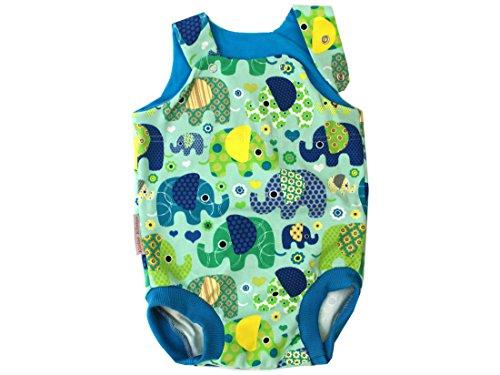 Kleine koningen baby romper Jongen zomer baby body · Model olifantenparty turquoise benzine · Ökotex 100 gecertificeerd · maten 50-92