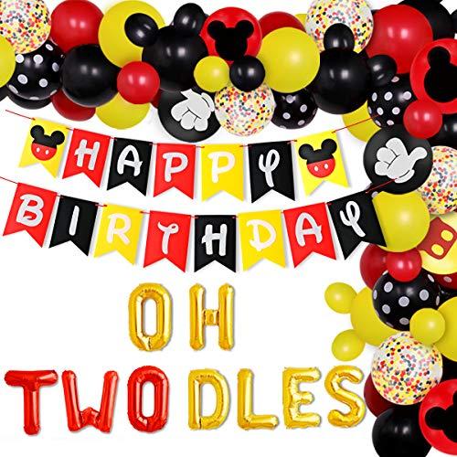 Jollyboom Kit de Arco de Guirnalda de Globos de Mickey Oh Twodles, Suministros de Fiesta de cumpleaños de Mickey, Decoraciones de Segundo cumpleaños con temática de Mickey