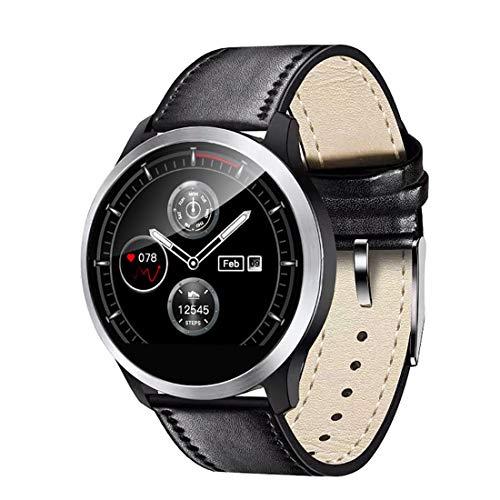 QKa Smart Watch mit Blutdruck-Herzfrequenzmessgerät und EKG-Wiedergabediagramm, einstellbare Helligkeit Edelstahl-Armband Smartwatch IP67(Beinhaltet EIN Silikonband),Leather