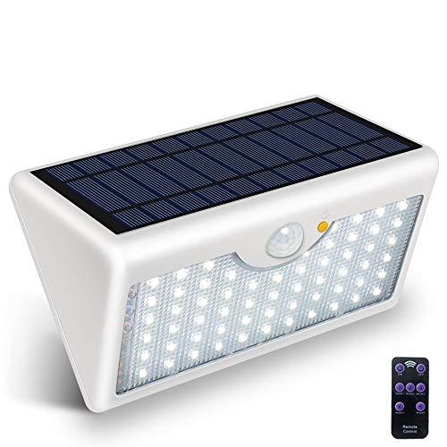 Brighthow Solarlamp, 60 leds, op afstand bedienbare zonnelampen, sensorverlichting met groothoekverlichting, draadloze waterdichte veiligheidsverlichting voor tuin, terras, padverlichting